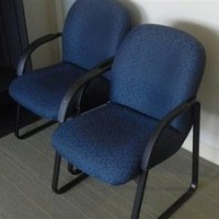 Blue Fabric Guest Chairs Sled Base