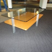 Contemporary Rectangular Glass & Maplewood Coffee Table