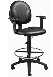 Contoured Back And Pneumatic Seat Adjustable Arm - Caressoft
