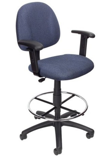 Contoured Back & Seat - Adjustable Height Arms - Blue