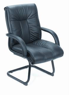 Italian Top-Grain Leather Guest Chair Without Wheel