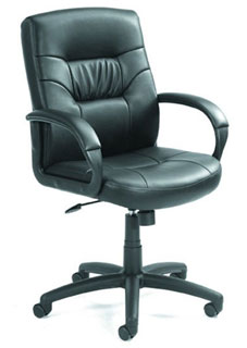 Mid Back Black LeatherPlus Executive Chair With Knee-Tilt Mechan