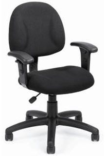 Thick Padded Seat And Back Task Chair With Arm - Black